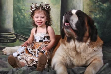 saint bernard: Child and Her Saint Bernard Puppy Dog Stock Photo