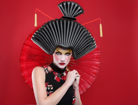 Modern Beauty Concept of a Geisha Girl photo