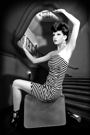 high fashion: High Fashion Woman With Stripes Boxed