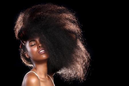 Mooie Prachtige Portret van een Afrikaanse Amerikaanse Zwarte Met Big Hair Stockfoto