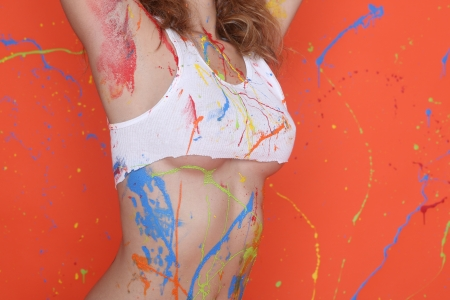 splashed: Beautiful Woman Splashed With Colorful Paint