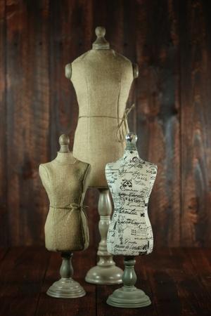 busts: Vintage Antique Mannequin Busts on Wood Grunge