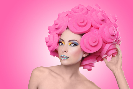 Bright Colorful Exotic Image of Woman Wearing Candy Makeup photo