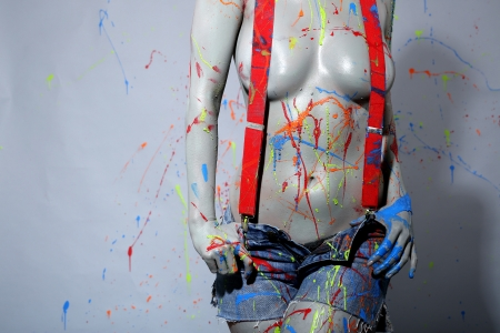 asian art: Sexy Female House Painter Splattered with Latex Paint
