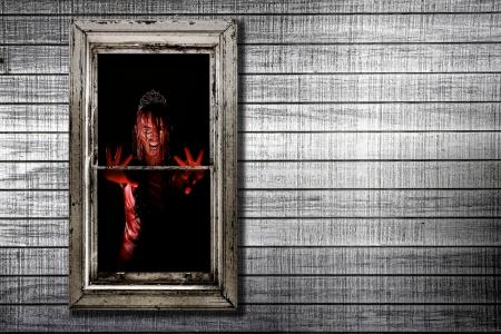 Bleeding Image of Woman in Window Zdjęcie Seryjne