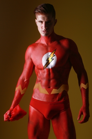 Red Body Painted Man as Fantasy Generic Superhero   photo