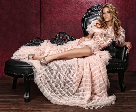 Beautiful Woman in Luxurious Corset Fashion Outfit