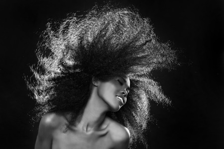 大きな髪、アフリカ系アメリカ人の黒人女性の美しい見事な肖像画 写真素材 - 26129346