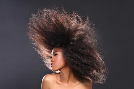 school girl sexy: Beautiful Stunning Portrait of an African American Black Woman With Big Hair