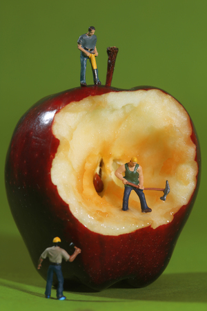 Miniature Construction Workers in Conceptual Imagery With an Apple