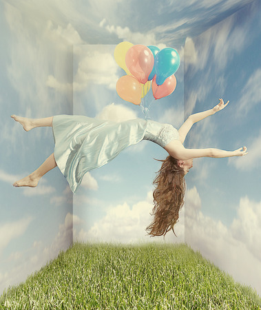 Fantasy Image of a Woman Floating like Levitation