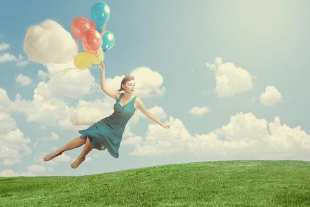levitation: Fantasy Image of a Woman Floating like Levitation