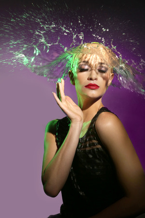 sensual lips: Beautiful Woman With Water Splashing Onto Her Head in the Shape of Hair