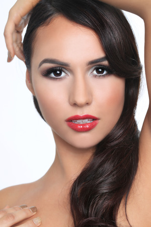 Beautiful Sensual Woman on A White Background