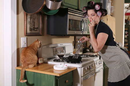 retro housewife: 1950 Era Housewife Doing Her Daily Chores Stock Photo