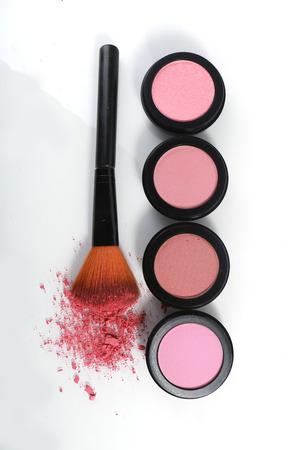 Pink Blush Sets on White Background photo