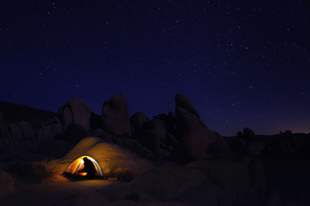 Colorful Night Camping in Joshua Tree National Park photo