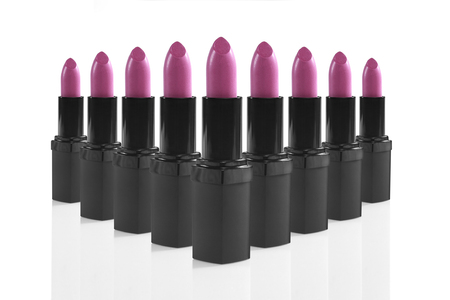 lip stick: Bright Colorful Lipsticks Lined up Perfectly Stock Photo