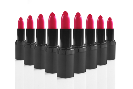 Bright Colorful Lipsticks Lined up Perfectly Stock fotó
