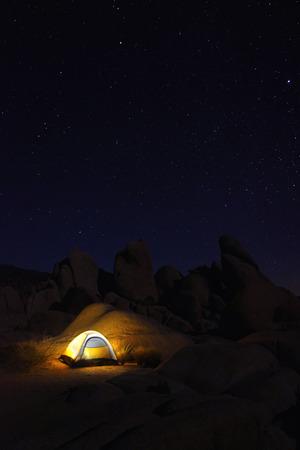 joshua tree: Colorful Night Camping in Joshua Tree National Park