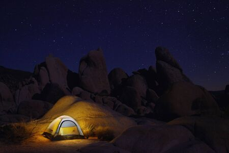 astral: Tent Camping at Night in Joshua Tree Park