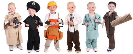Six Occupation Versions Represented by a Child Police Construction Doctor Mail and Photographer photo