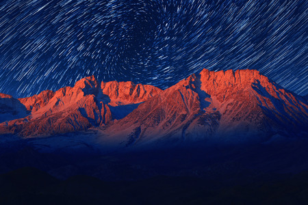 astral: Vortex Night Exposure Star Trails of the Sky in Bishop California