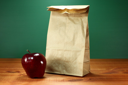apple sack: Blank Back to School Lunch Sack and Apple