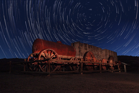 timelapse: Vortex Night Exposure Star Trails of the Sky in Death Valley California Stock Photo