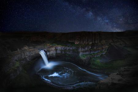 Night Star Trail Time Lapsed Exposure in Palouse Washington Stock Photo
