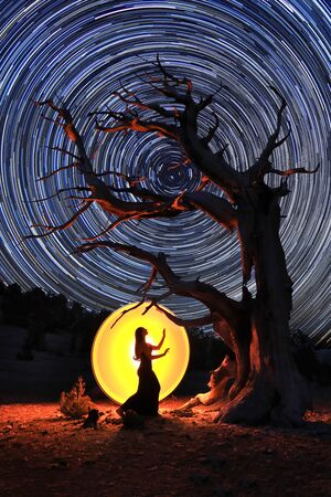Person Light Painted in the Eastern Sierras Under the Night Sky