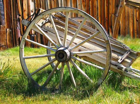 wagon wheel in Bodie photo