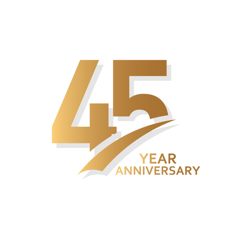 45 Year Anniversary Vector Template Design Illustration