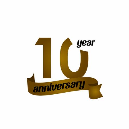10 Year Anniversary Vector Template Design Illustration Illusztráció