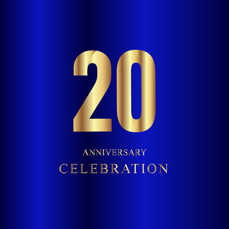 20 Year Anniversary Celebration Gold Blue Vector Template Design Illustration