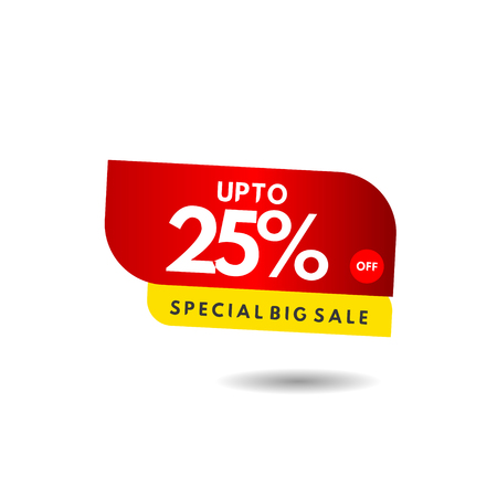 up to 25% Special Big Sale Label Vector Template Design Illustration 스톡 콘텐츠 - 124361913