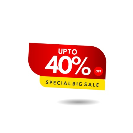 up to 40% Special Big Sale Label Vector Template Design Illustration 스톡 콘텐츠 - 124361915