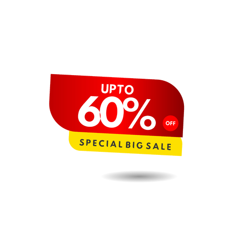 up to 60% Special Big Sale Label Vector Template Design Illustration 스톡 콘텐츠 - 124361918