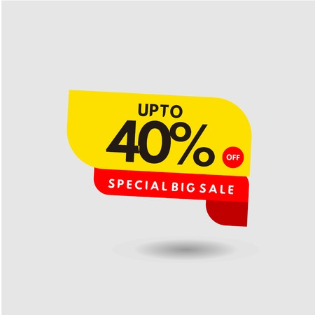 up to 40% Special Big Sale Label Vector Template Design Illustration 스톡 콘텐츠 - 124361986