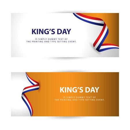 King's Day Vector Template Design Illustration Vettoriali