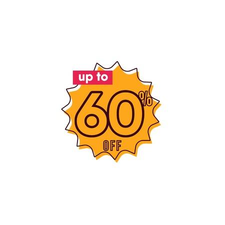 Rabatt bis zu 60% auf Etiketten-Vektor-Vorlagen-Design-Illustration Vektorgrafik