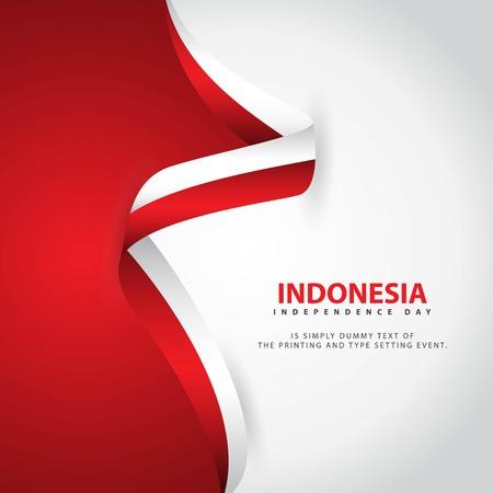 Ilustración de diseño de plantillas vectoriales del día de la independencia de Indonesia