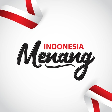 Indonesia Menang Vector Template Design Illustration  イラスト・ベクター素材