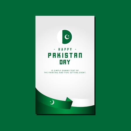 Happy Pakistan Day Vector Template Design Illustration