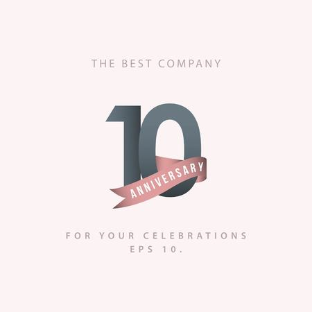 10 Year Anniversary Celebration Vector Template Design Illustration Vecteurs
