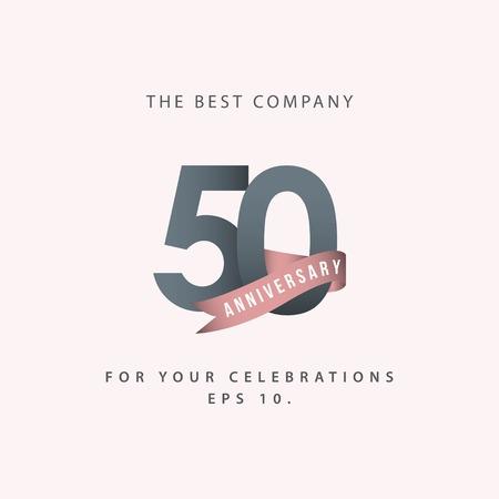 50 Jahre Jubiläumsfeier Vektor Template Design Illustration