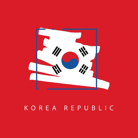 Korea Republic Brush Logo Vector Template Design Illustration 矢量图像