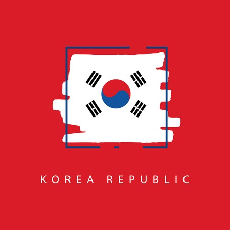 Korea Republic Brush Logo Vector Template Design Illustration