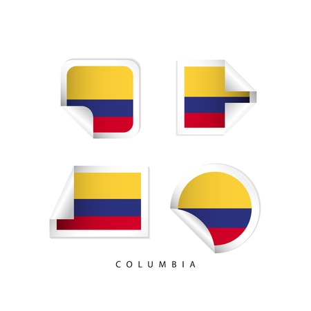 Columbia Label Flags Vector Template Design Illustration