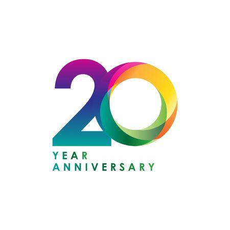 20 Year Anniversary Vector Template Design Illustration Vektoros illusztráció